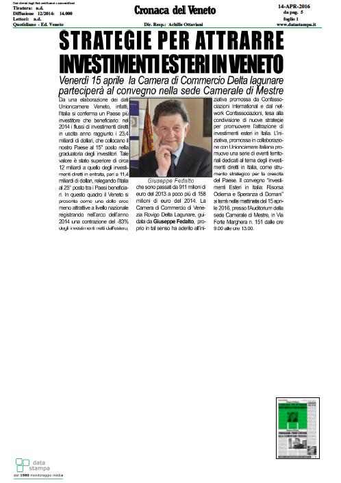 Cronaca del Veneto, 14 aprile 2016