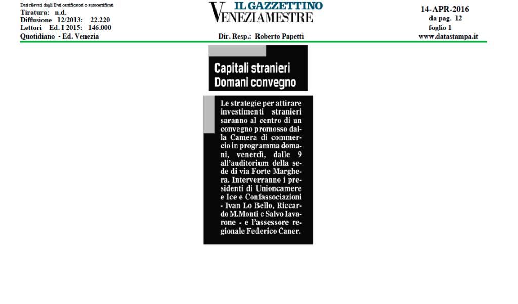 Il Gazzettino Venezia Mestre, 14 aprile 2016
