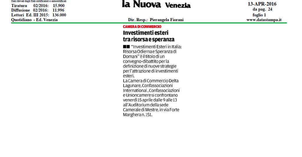 La Nuova Venezia, 13 aprile 2016