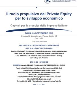 SAVE THE DATE<h3> Il ruolo propulsivo del Private Equity per lo sviluppo economico.  Capitali per la crescita delle imprese italiane</h3>