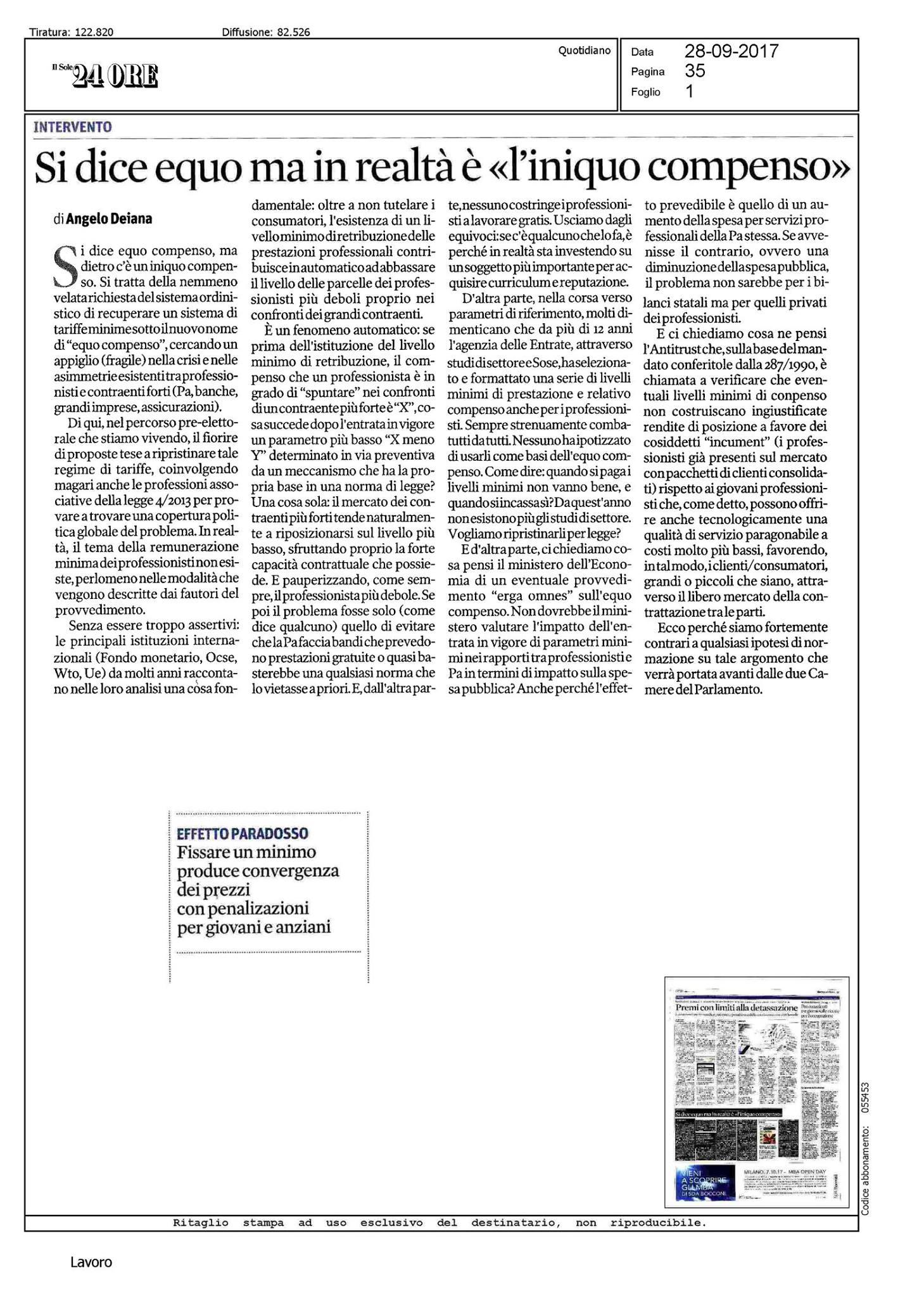 articolo Il Sole 24 Ore 28 settembre 2017